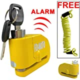 FD-MOTO LK603 Alarm Disc Lock Motorbike Bike Bicycle Disc Lock ALARM + Free Reminder Cable