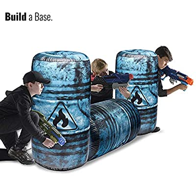 BUNKR BattleZones Inflatable Take Cover Oil Barrel Compatible with Nerf, Laser X, X-Shot and Boomco: Toys & Games