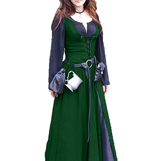 CAGYMJ Dress Party Mujer Vestido,Cosplay Medieval Retro Costuras ...
