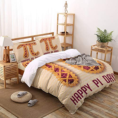 4pcs Queen Size Duvet Cover Set Cherry Pie Lightweight Easy Care Bedding Set for Men, Women, Boys and Girls