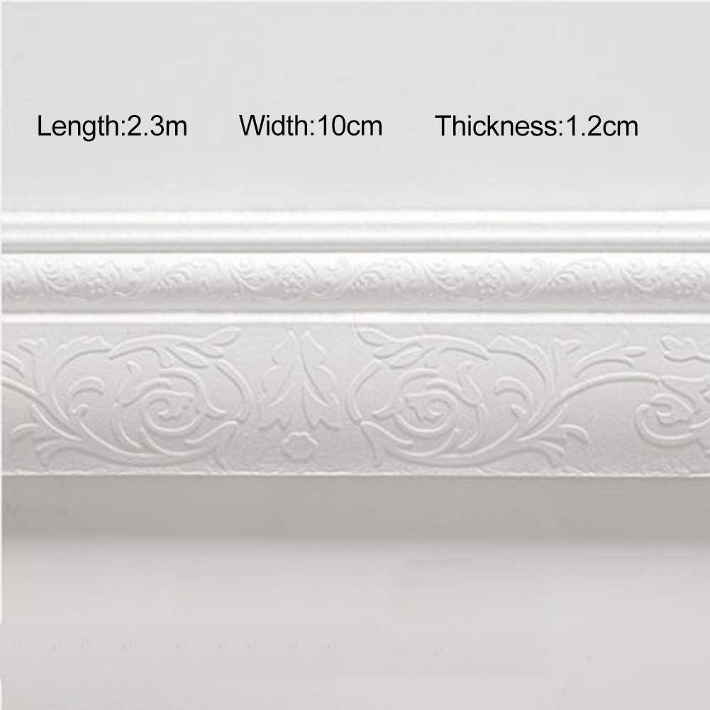 WISREMT Pegatinas de pared de espuma 3D 2.3cm Papel autoadhesivo Etiqueta de borde de pared impermeable para decoración de marco de puerta/ventana -Gris/Negro/Granito/Marrón