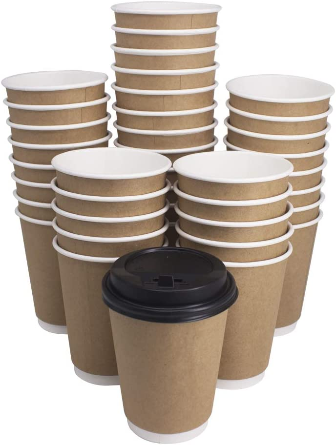 YBCPACK 50 Pack 12oz Disposable Paper Coffee Cups with Travel LidsDouble Wall Insulation to go Coffee Cups for Coffee, Tea, Hot or Cold Beverage