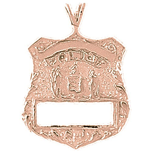 Rose Gold-plated Silver 26mm New York Police Pendant