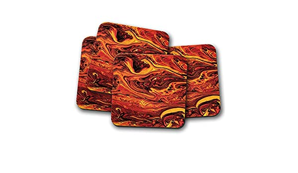 Magma Orange Red Volcano Fire Flame Gift #15020 Lava Marble Coaster 4 Set