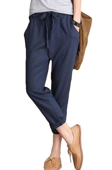 399f04cde30 UUYUK Women Casual Cropped Cozy Cotton Linen Trousers Pants Navy Blue US XS