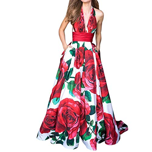 Coper Women's Gorgeous Vivid Rose Pattern Deep V-neck Sleeveless Halter Cold Shoulder Pleat Shrink Empire Waist Vacuum Backless Maxi Dresses Evening Party Long Dresses Prom Gown Banquet Dresses Pocket