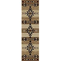 23 x 77 Brown Tan Southwest Theme Runner Rug Rectangle, Black Beige Tribal Pattern Native American Hallway Carpet Southwestern Entryway Geometric Aztec Rustic Lodge Cabin Entrance Way, Polypropylene