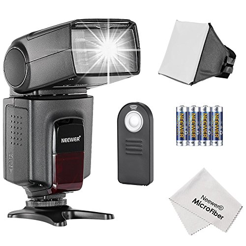 Manual Flash (Neewer® TT560 Speedlite Flash Kit for Canon Nikon Olympus Fujifilm and any Digital Camera with a Standard Hot Shoe Mount, Includes: (1)TT560 Flash + (1)Universal Portable Softbox Flash Diffuser + (1)Universal 5-in-1 Multi Function Remote Control (for Nikon D3200 D3100 D3000 D3300 D5000 D5100 D5200 D5300 D7000 D7100 D200 D300 D600 D610 D700 D750 D800, Canon T3i T4i T5i SL1 60D 70D 5D 6D 7D, Sony A230 A33O A450 A500 A550 A700 A900) + (4)Batteries + (1)Microfiber Cleaning Cloth)