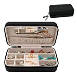 MISYLPH PU Leather Jewelry Box for Ring&Earrings Necklaces, with Mirror&Zipper, Small-Size, Portable (Mid, Black)
