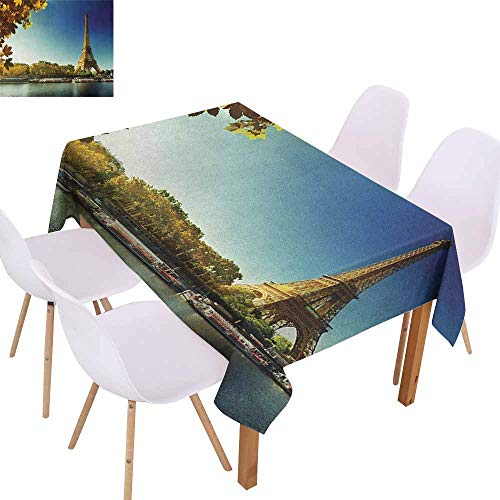 (Polyester Tablecloth Eiffel Tower Seine in Paris with Eiffel Tower Autumn Leaves Riverside Scenery Table Decoration W54 xL84 Earth Yellow Green Blue)