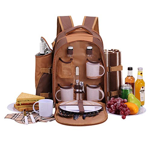 (apollo walker Picnic Backpack Bag for 4 Person with Cooler Compartment, Detachable Bottle/Wine Holder, Fleece Blanket(45