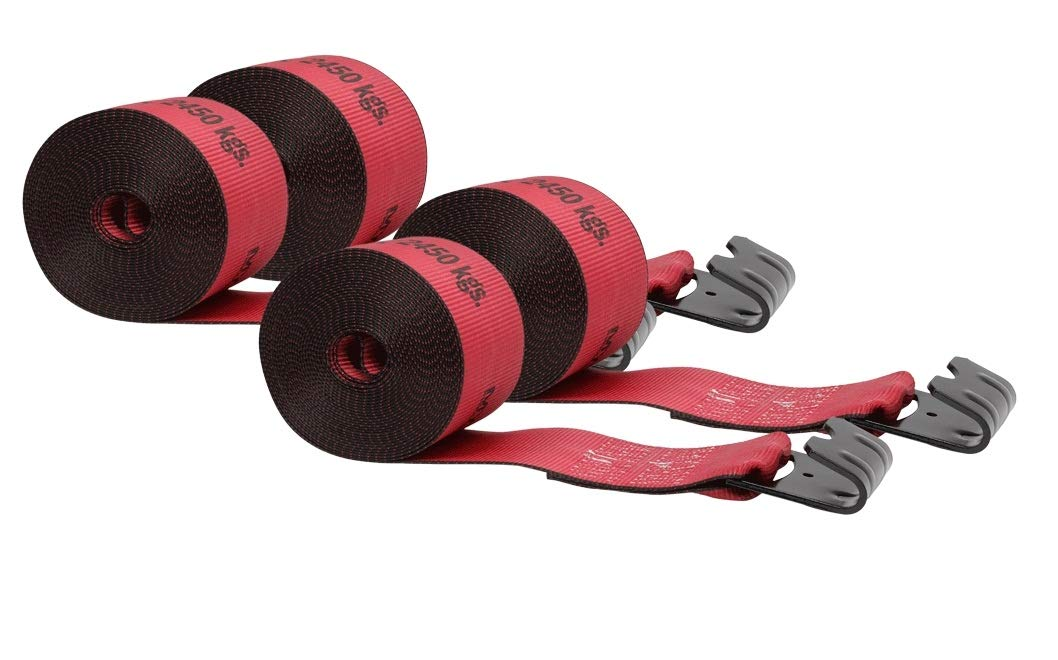 Mytee Products Kinedyne Winch Straps 4'' x 30'' Red Heavy Duty Tie Down with Flat Hooks WLL# 5400 lbs | 4 Inch Cargo Control for Flatbed Truck Utility Trailer (4 Pack) by Mytee Products