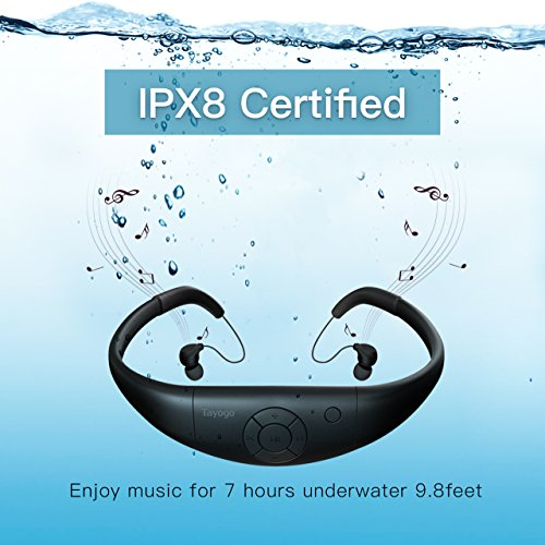 Tayogo 8GB Waterproof MP3 Player, Bluetooth Swimming Headphone Underwater 10FT with FM APP Flash Drive for Swimming Running Riding Walking Spa, with Shuffle Feature – Black