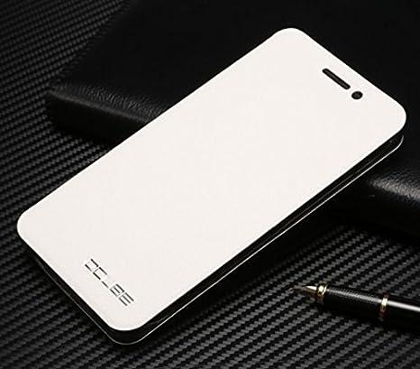 PREVOA ® 丨 Flip PU Funda Cover Case < caso duro adentro > Protictive Carcasa para UMI Super - Android 6.0 Smartphone 5.5 pulgadas - (Blanco)