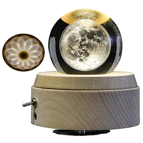 Amperer 3D Crystal Ball Music Box The Moon Luminous Rotating Musical Box with Projection LED Light and Wood Base Best Gift for Birthday Christmas (A2 (Rotating Music Box)