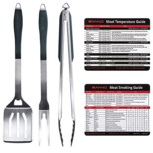 SANNO BBQ Grilling Tools Set Heavy Duty Extra Thick Stainless Steel Spatula, Fork, Tongs with Magnetic Meat Smoking and Temp Guide, Best for Barbecue & Grill (BBQ Tool Sets)