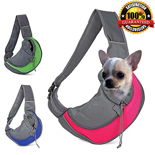 PPH3 Shine Breathable Dog Front Carrying Bags Mesh Comfortable Travel Tote Shoulder Bag for Puppy Cat Small Pets Slings Backpack Carriers (S, Green) ()