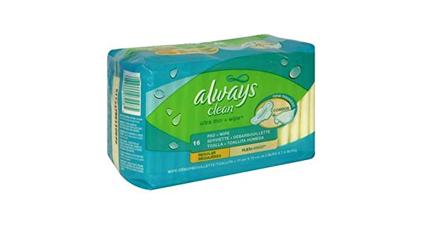 Amazon.com: Always Clean Ultra Thin Pads Regular with Wings, Unscented, 16-count Package: Health & Personal Care