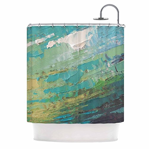 KESS InHouse Carol Schiff Sea Dance Teal Green Painting Shower Curtain, 69'' x 70'' by Kess InHouse