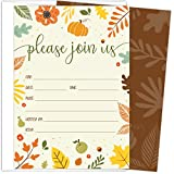 Koko Paper Co Fall Invitations in Autumn Colors with Pumpkin, Fruits and Florals. 25 Fill In Style Cards and Envelopes for Thanksgiving, Harvest Party, Birthday, Engagement, Bridal and Baby Shower, or