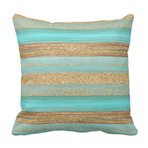 Gold Turquoise Coral - Emvency Throw Pillow Cover Retro Cozy Modern Turquoise Faux Gold Glitter Stripes Green Livin Decorative Pillow Case Home Decor Square 20 x 20 Inch Pillowcase