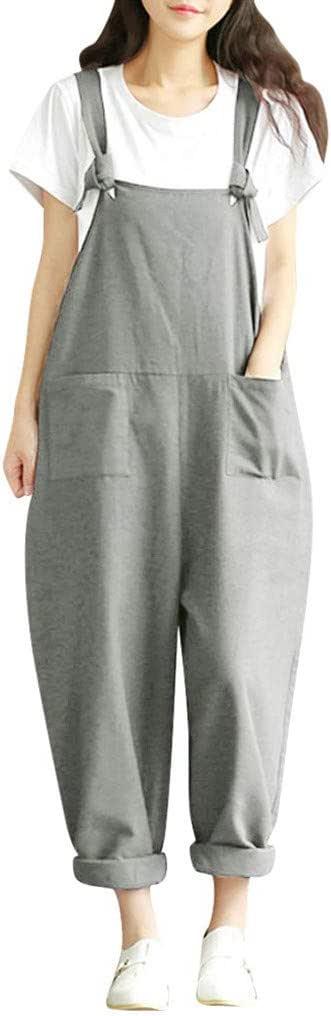 Mujeres Pierna Ancha Pantalones De Lino Del Mono Baggy Holgado Harem Petos Tallas Grandes Lookool Ro