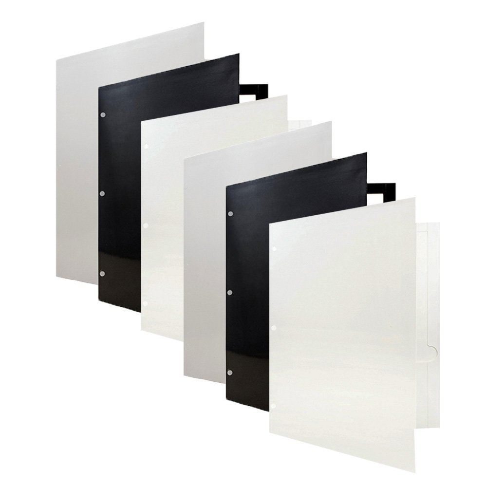 JAM PAPER Laminated Two Pocket Glossy 3 Hole Punch Folders - Assorted Business Colors - 6/pack