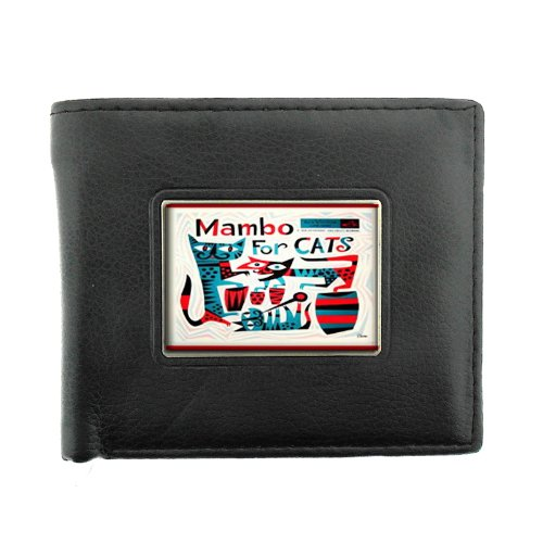 Mambo Wallet (Mambo For Cats Retro Lounge Black Bifold Leather Material Wallet D-438)
