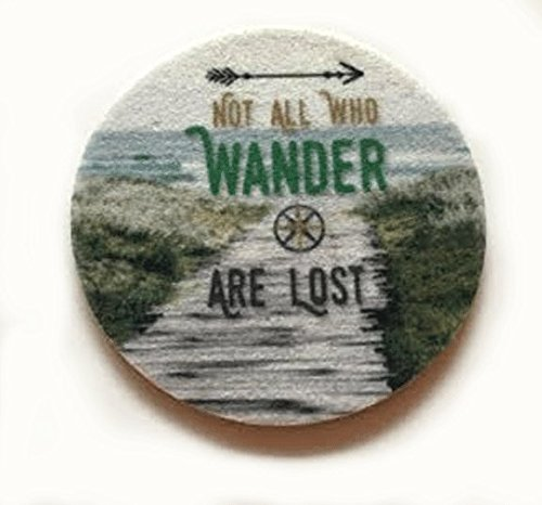 Cup Holder Car Coasters - Not all who wander are lost - Absorbent Car Coasters - Can be used as wine coasters - 2 Pack