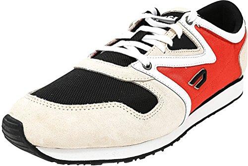 Diesel Mensen E-boojik Enkel-high Fashion Sneaker Sandshell / Zwart / Vurige Rode