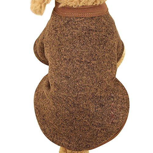 Farjing Pet Dog Sweater,Warm Puppy Sweater Fleece Sweater Clothes (2XL,Coffee