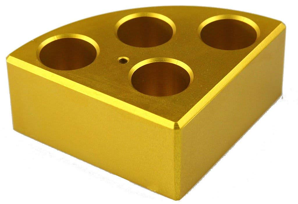 Scilogex 18900049 Quarter Reaction Block for 16 mL Reaction Vessel 21.6 mmDia, 31.7 mmHeight, 6 Holes, Gold