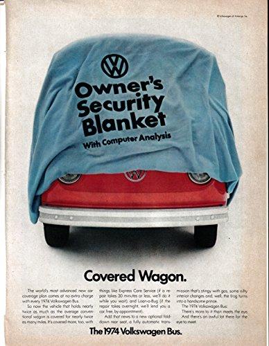 1974 VW Bus-Van-Microbus-Owners Security Blanket-Volkswagen Original Magazine Ad