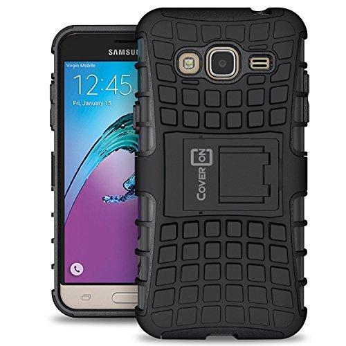 Samsung Express Prime Case, Galaxy Sky Case, Galaxy Amp Prime Case, CoverON [Atomic Series] Hybrid Armor Cover Tough Hard Kickstand Phone Case for Samsung Galaxy Express Prime - Black