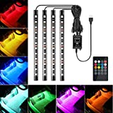 Favoto Car Interior Lights Underdash Lighting Kit Multicolor 8 Colors Music Car LED Strip Lights Wireless Remote Control IP67 Waterproof USB Port DC 12V