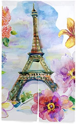 NIESIKKLA 間仕切りカーテン,パリの水彩イラスト手描きエッフェル,断熱幅86cm×丈143cm キッチン居間耐久性 風水パーティション夏 冬
