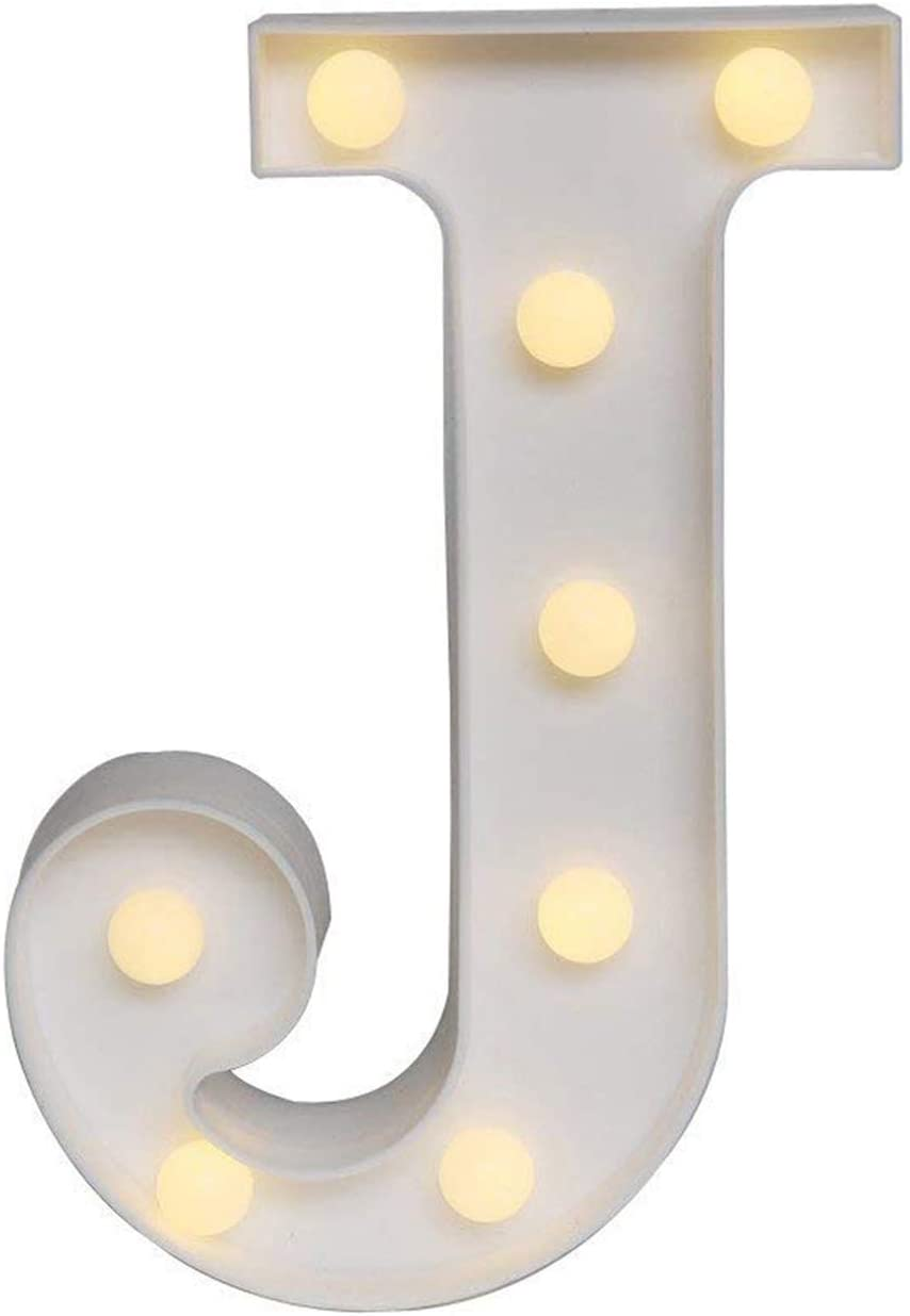 Ogrmar Decorative Led Light Up Number Letters, White Plastic Marquee Number Lights Sign Party Wedding Decor Battery Operated (J)