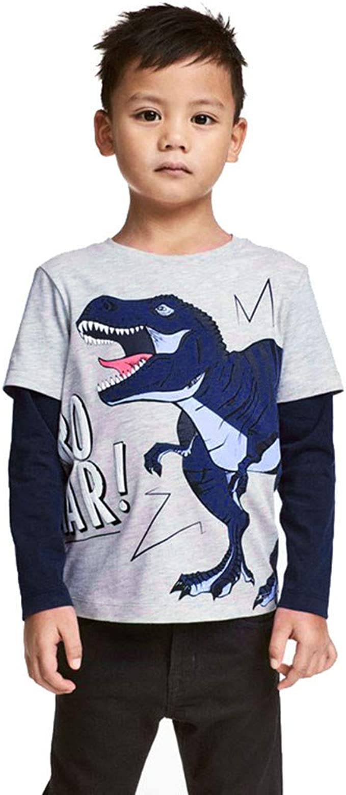Toddler Baby Kid Boy Cute Cartoon Dinosaur Patchwork Shirt Tops Pullover Clothes