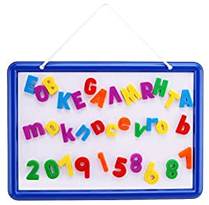 Magnetic Whiteboard with 109 Alphabet Letters & Numbers - ABC Magnets & Dry Erase Marker - 14.5 x 10 Drawing Art White Board Educational Kids Toy - By EduKid Toys
