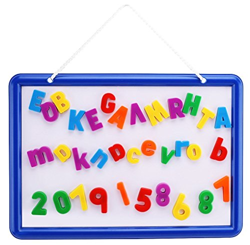 Magnetic Whiteboard with 109 Alphabet Letters & Numbers - ABC Magnets & Dry Erase Marker - 14.5 x 10 Drawing Art White Board Educational Kids Toy - By EduKid Toys (Whiteboard Bag)