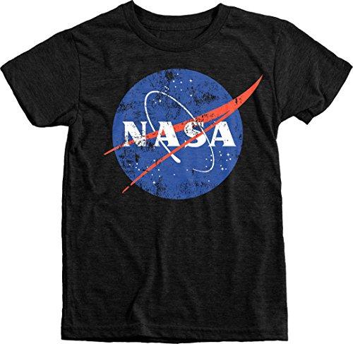 Trunk Candy Kids NASA Space Program Distressed Meatball Logo Tri-blend T-shirt (Vintage Black, XL(14/16)) (Tee Shirts Trunk)