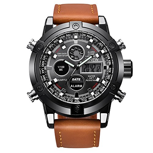 Watches for Men Sports Chronograph Waterproof Analog Quartz Watch with Leather Band Classic Casual (Brown)