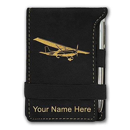 Mini Notepad, High Wing Airplane, Personalized Engraving Included (Black) (High Wing Airplane)