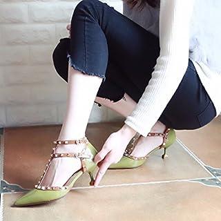 Xue Qiqi Tribunal Zapatos Sandalias Zapato de Baile con una Multa, y Zapata Remaches Señaló Boca Superficial Zapatos Zapatos de Mujer Correa ranurada Multa con Solo Zapatos