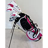Ladies Complete Golf Club Set Right Handed Graphite Shafted Clubs Lady Driver, Fairway Wood, Hybrid, Irons, Putter & Womens Bag Pink Color