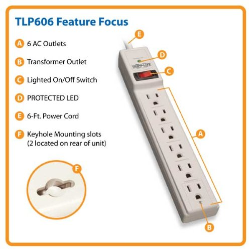 6 Outlet Surge Protector Power Strip 6ft Cord 790 Joules LED & INSURANCE (TLP606)