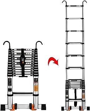 ZJM Escaleras Telescópicas Multifunción Escalera telescópica de Aluminio de 19.4 pies con Ganchos Desmontables, Escalera de extensión telescópica de ingeniería Multiusos, Capacidad 330 lbs: Amazon.es: Hogar