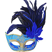 Coxeer Masquerade Mask Venetian Halloween Costume Mask with Feather