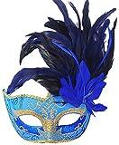 light blue mardi gras mask - Coxeer Feather Masquerade Mask Halloween Mardi Gras Costume Cosplay