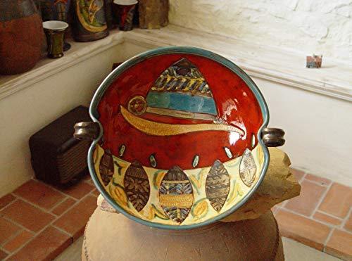 Large Pottery Bowl - Colorful Ceramic Fruit Bowl - Deep Earthen Pot - Fruit Dish - Dankohandmade Pottery - Red Ceramic Bowl - Clay Art